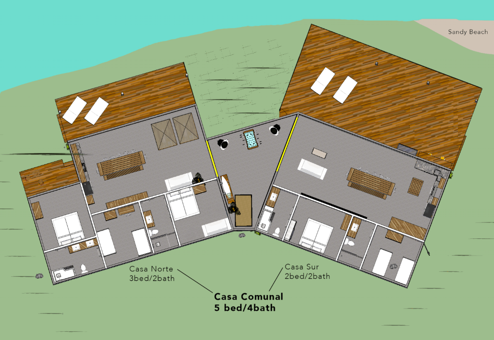 *Sliding walls (as depicted in yellow) can be closed to create two, separate homes or opened for one large, open plan.
