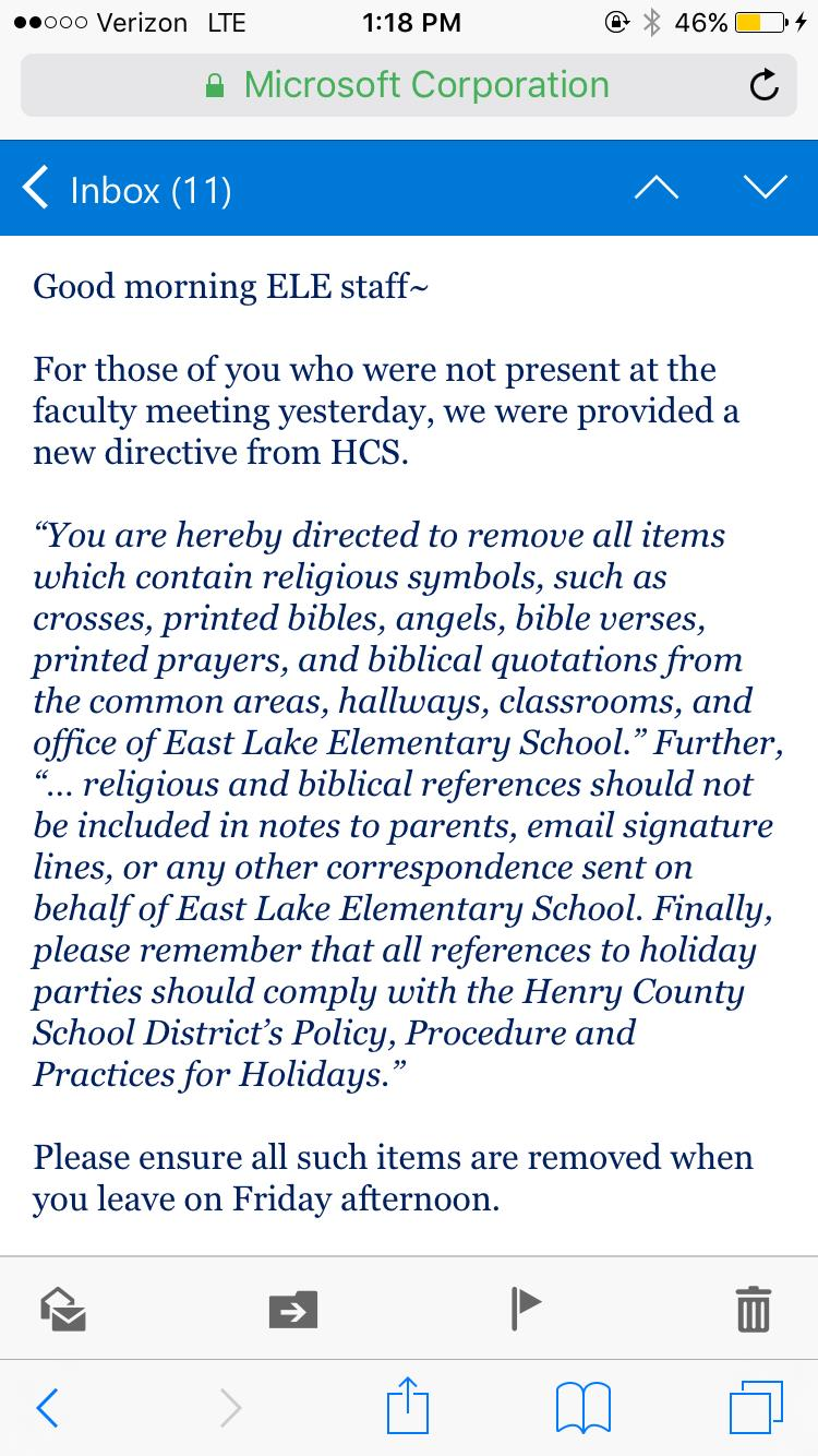 Photo by ToddStarnes.com - This is the edict that teachers received at East Lake Elementary School in Georgia.