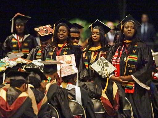 FOX PHOTO: Bethune-Cookman University students turn their backs to Education Secretary Betsy DeVos.