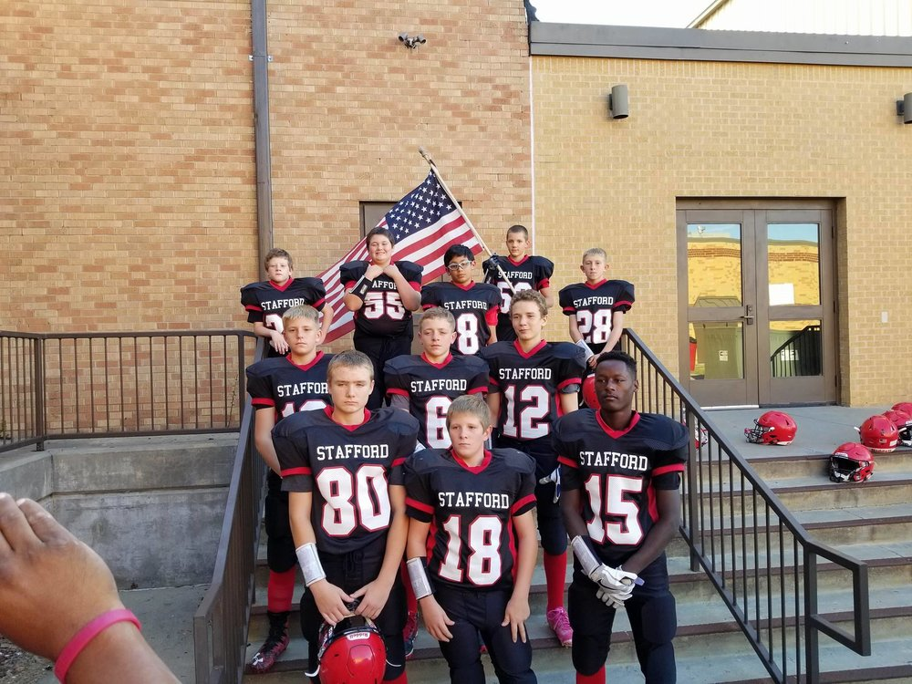 """I received this photo from Mike Gantz - of Stafford Kansas. """"I just wanted to show you a couple of pictures from our middle school football team. American pride in Kansas! God and Country,"""" he said. They are raising patriots at Stafford Middle School!"""