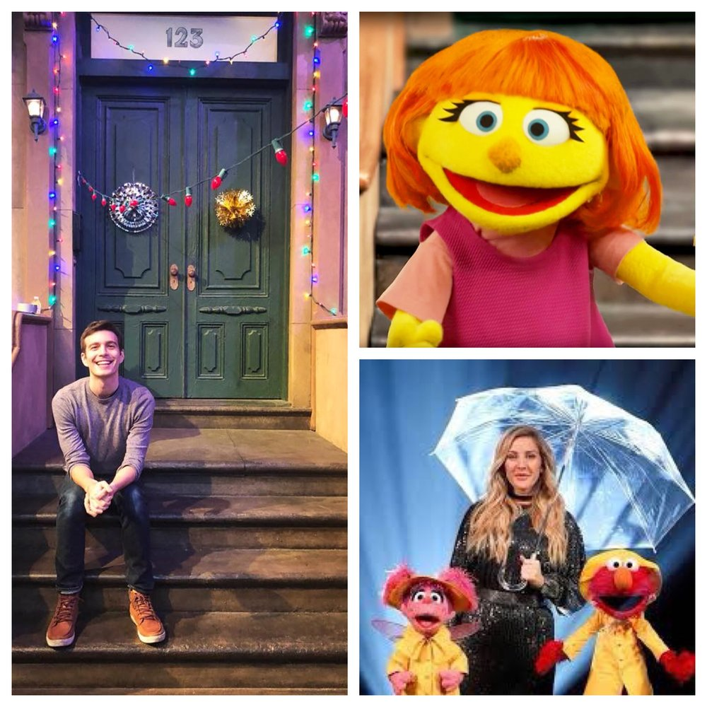 """Tim writes songs for Sesame Street. Favorites include """"We Can All be Friends,"""" the introductory song for Julia, the first muppet with autism, and """"Thank you Cloud,"""" featuring Elmo, Abby,and Ellie Goulding."""