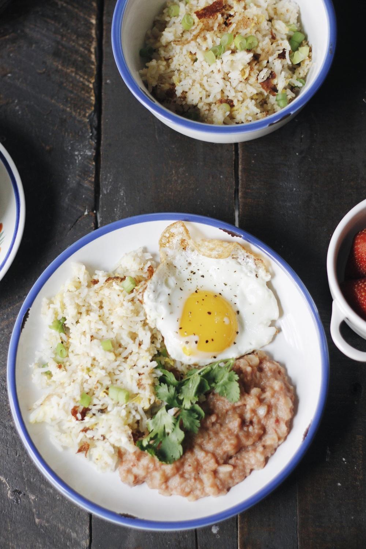 Filipino Fried Garlic Rice Egg And Corned Beef Cornsilog