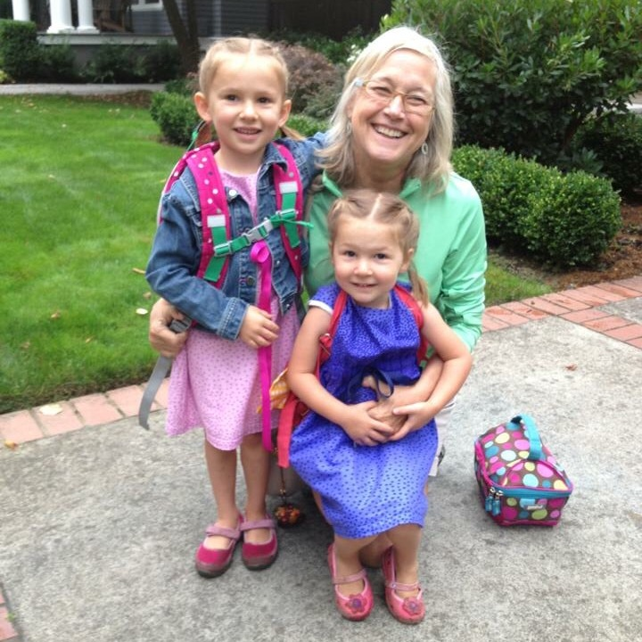 nora, gigi, and etta on the first day of school 2013