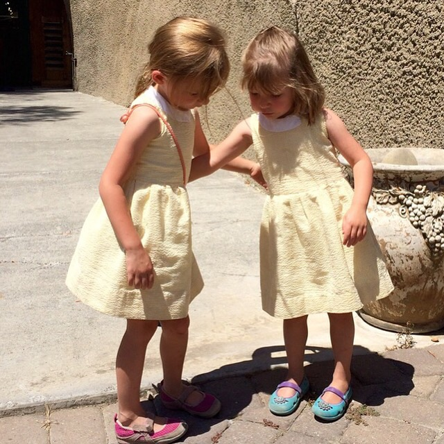 nora and etta up in sanoma in their seersucker dresses