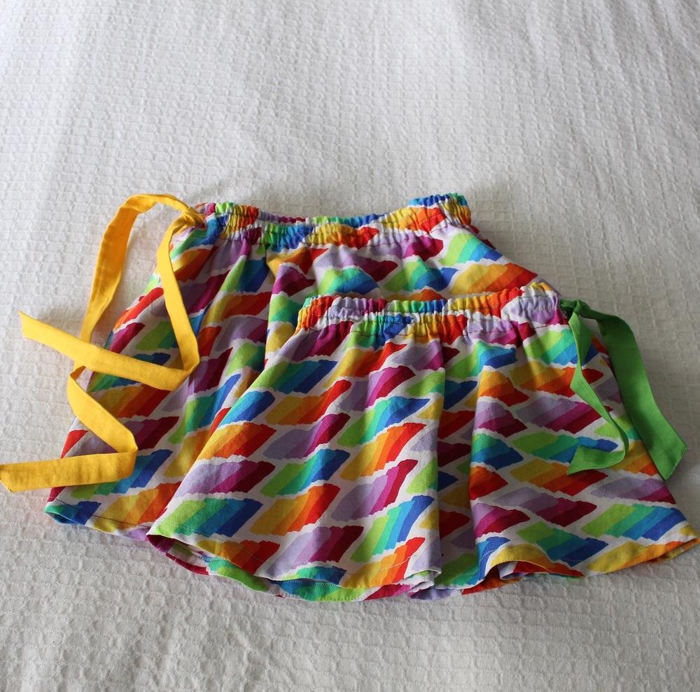 maya & neela's  #lovewins swingset skirts , made with an awesome rainbow print lois gave me