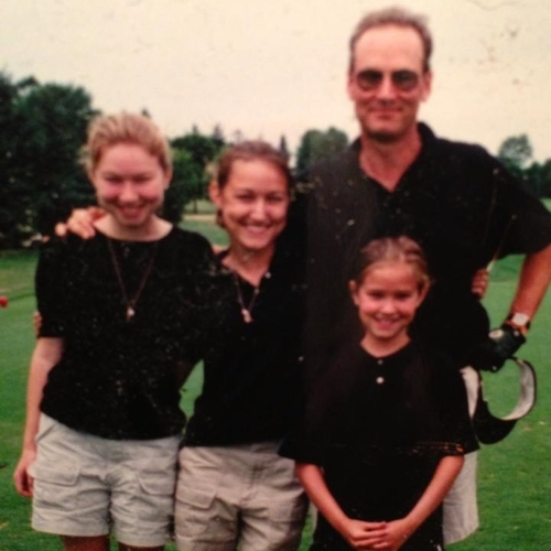 from left to right: abby (aka nora and etta's mom), sammie (aka maya and neela's mom), dad (aka gramps), and maggie (aka aunt maggie) golfing in the mid 90s.