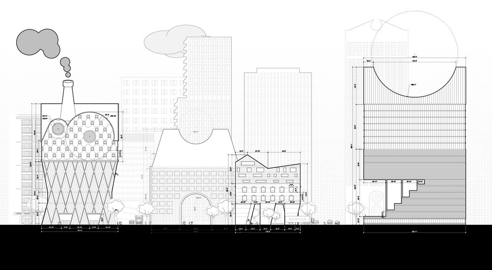 Toys as buildings in the image of a collection.