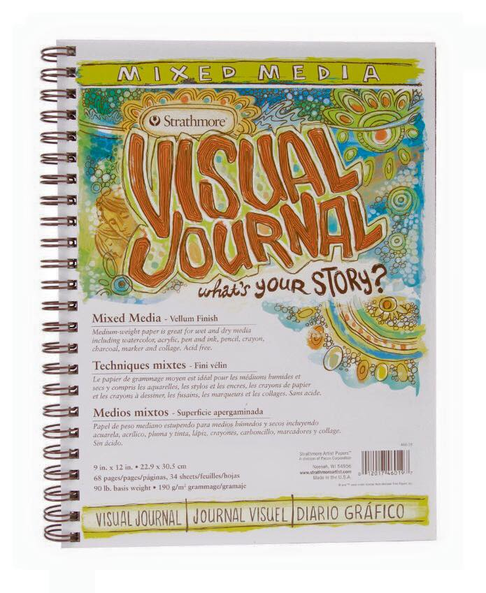 This will be the visual journal that we use throughout this class. The spiral binding enables us to open it all the way and keep it open while we create artwork. The pages are designed for mixed media, which is what we need for all the different methods we will be using. The size is 1 inch larger than a standard sheet of paper so it is large enough for us to create detailed works of art.