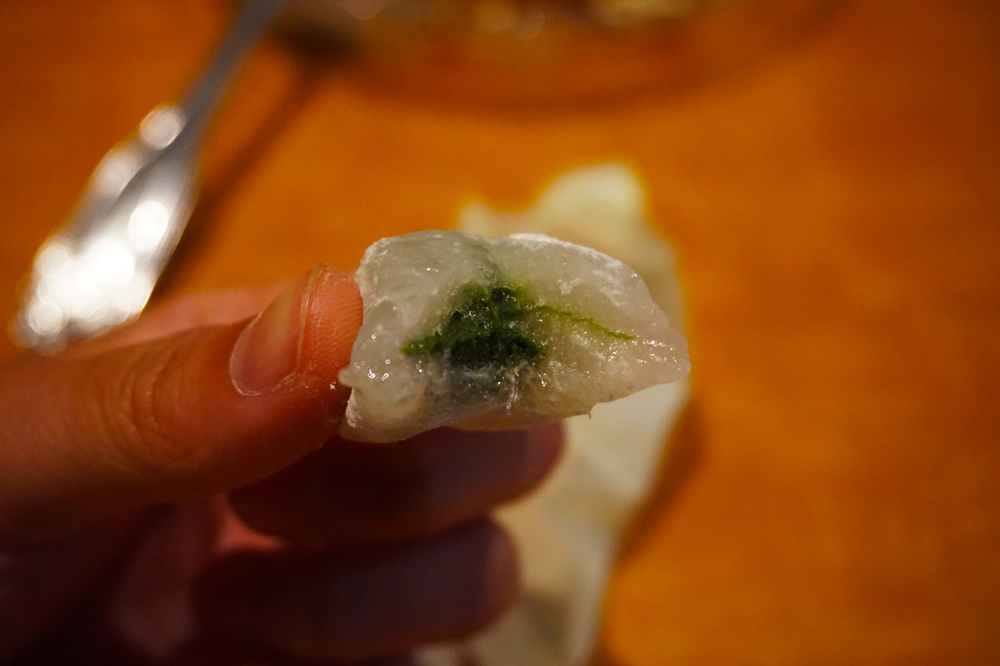 Tiny little handmade matcha green tea mochi for dessert