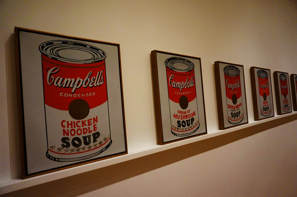 The famous soup cans, inspired by Andy Warhol's lunch every day for 20 years