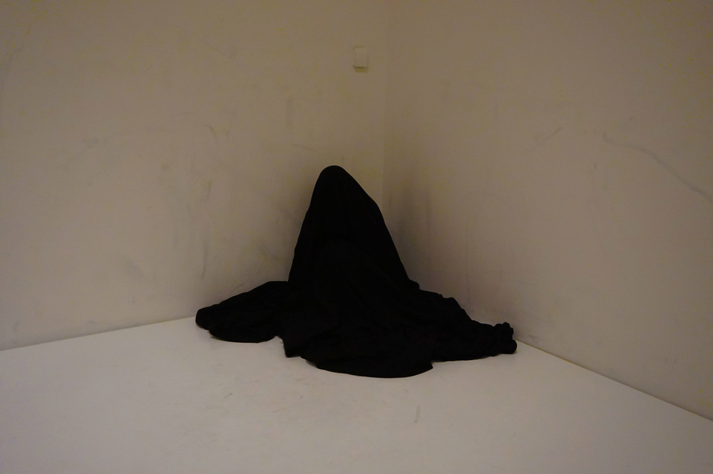"""Bag Piece,"" by Yoko Ono, which was open to visitors to perform, a black bag in the middle of a white room...it was very odd (this guy was in there for at least 45 minutes), but I suppose it served its purpose as art, because I and a bunch of other people couldn't stop watching."