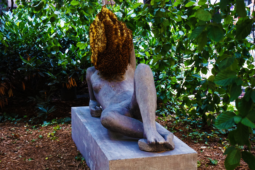 This statue had a live beehive attached to it