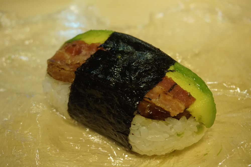 Avocado-bacon spam musubi