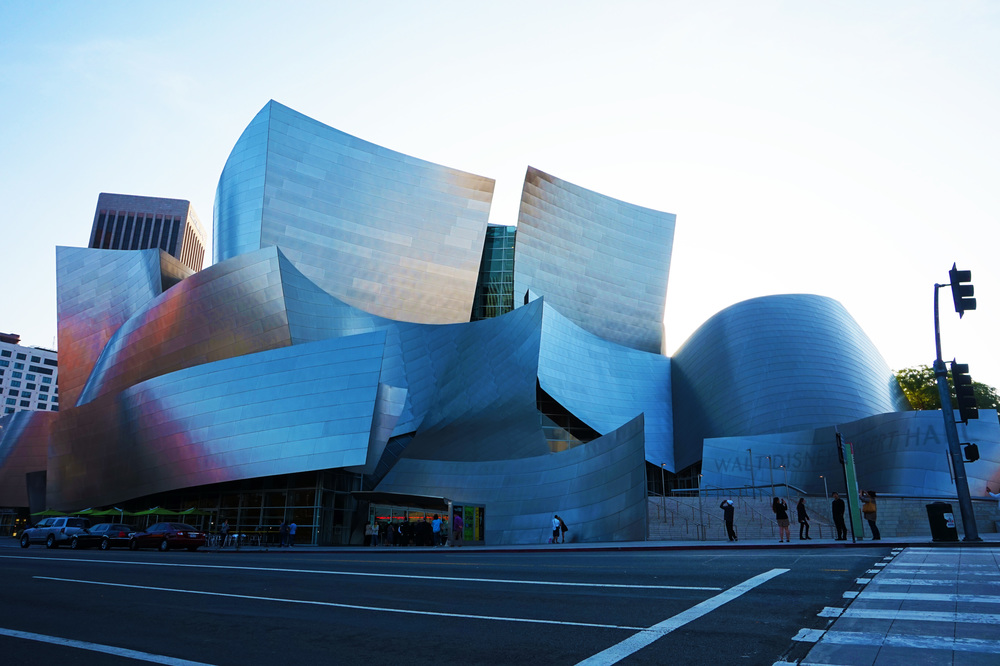 Walt Disney Concert Hall at sunset