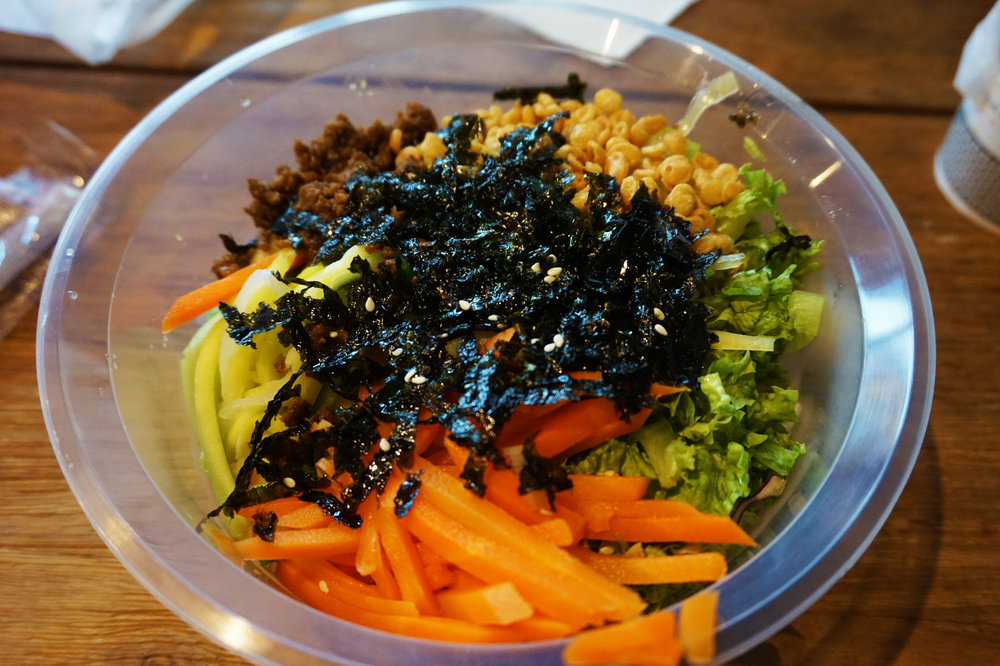 Warm soy sauce noodles from Paik's Bibimbap