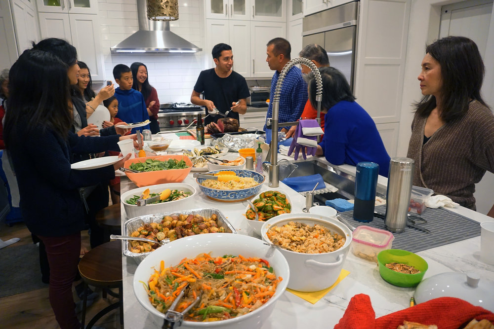 Asian-Americans have japchae and fried rice at Christmas
