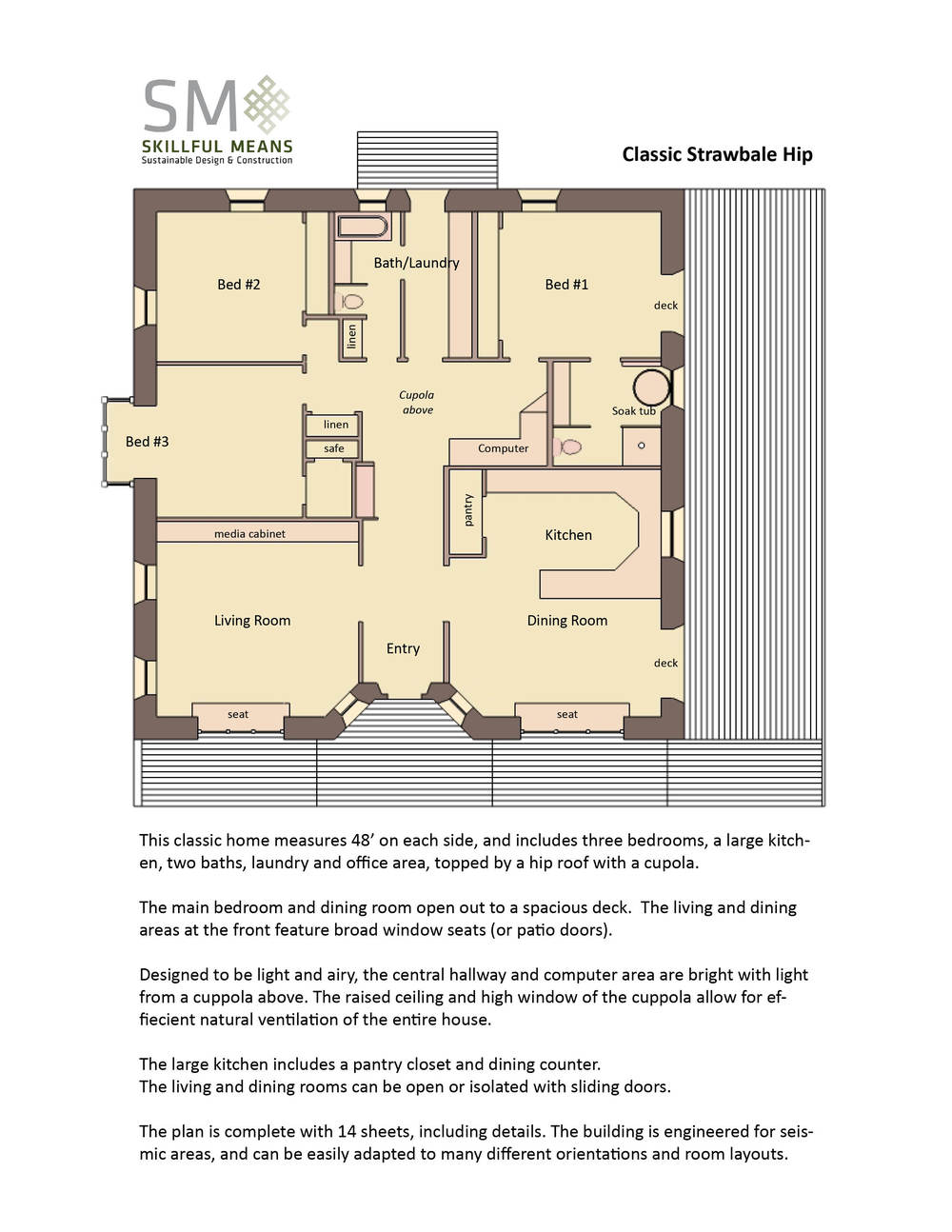 Classic square House Plan   Skillful Means design   buildhouse plans classic strawbale hip