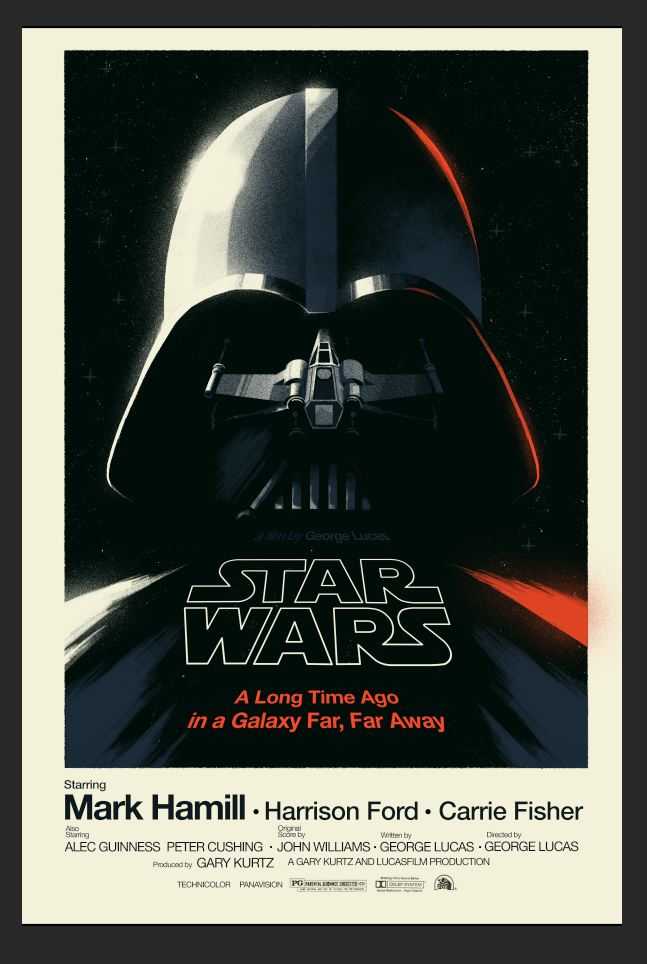 Star Wars  poster by Olly Moss      Got the itch. Made a Star Wars poster for friends this Christmas.       I'd pay great sums of hard-earned cash for a copy of such a poster.
