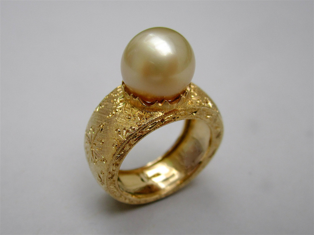 Vincent Hawley - hand engraved pearl ring