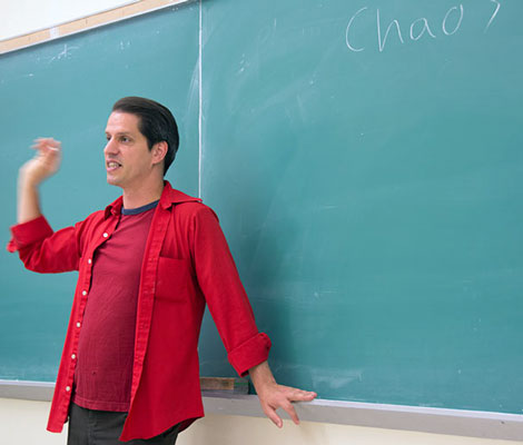 Justin Vaccaro leads his class on the hit show, Game of Thrones. (Photo by Hulda Nelson.)