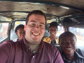 Sam Sites (front, left) and three other interns working for the Legal Resource Centre in Accra, Ghana.