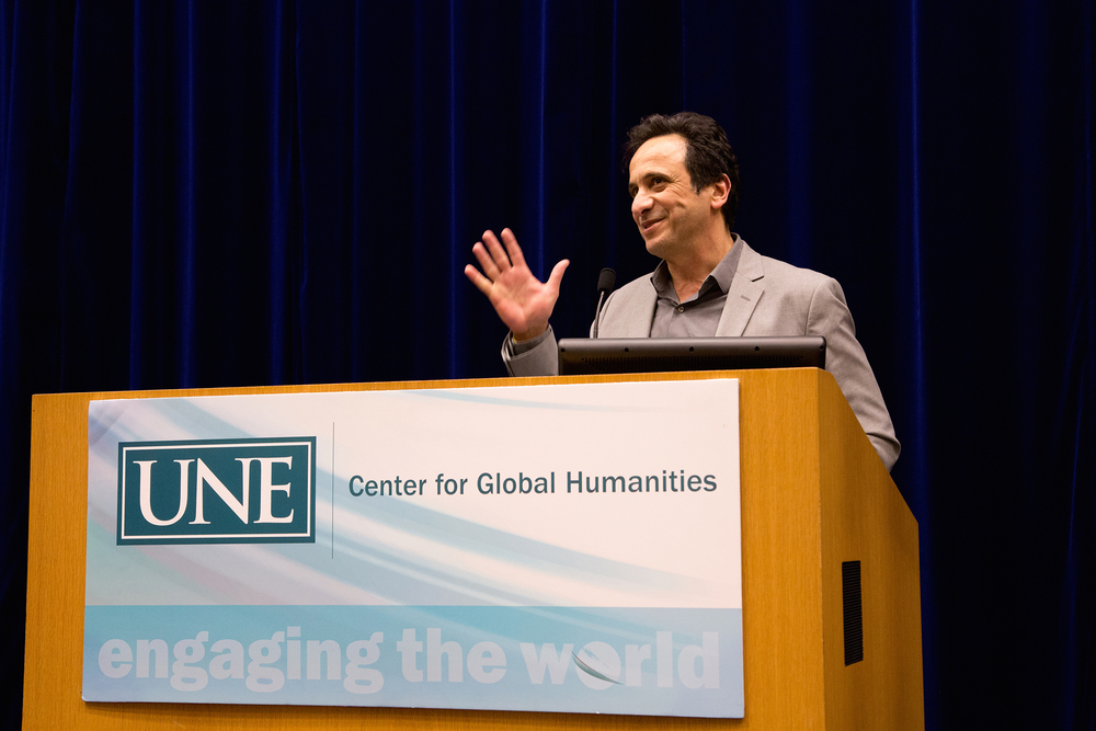 Anouar Majid presents at a Center for Global Humanities Lecture at the University of New England.