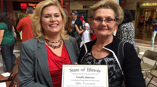 College of DuPage Latino Outreach Center Manager Saraliz Jimenez with her mother, Dr. Rosita Jimenez, at Lieutenant Governor Evelyn Sanguinetti's Hispanic Heritage Month Celebration.