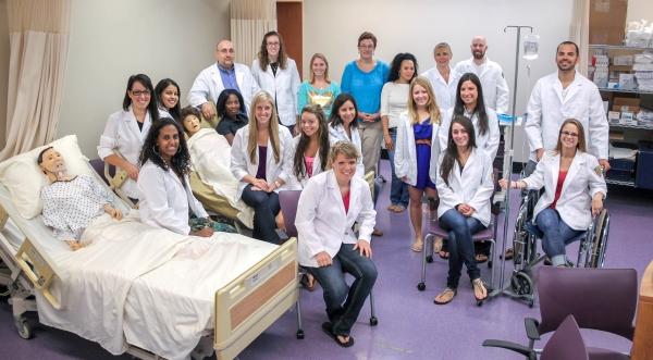 Students and faculty members at Niagara University's newly unveiled Nursing Simulation Center.