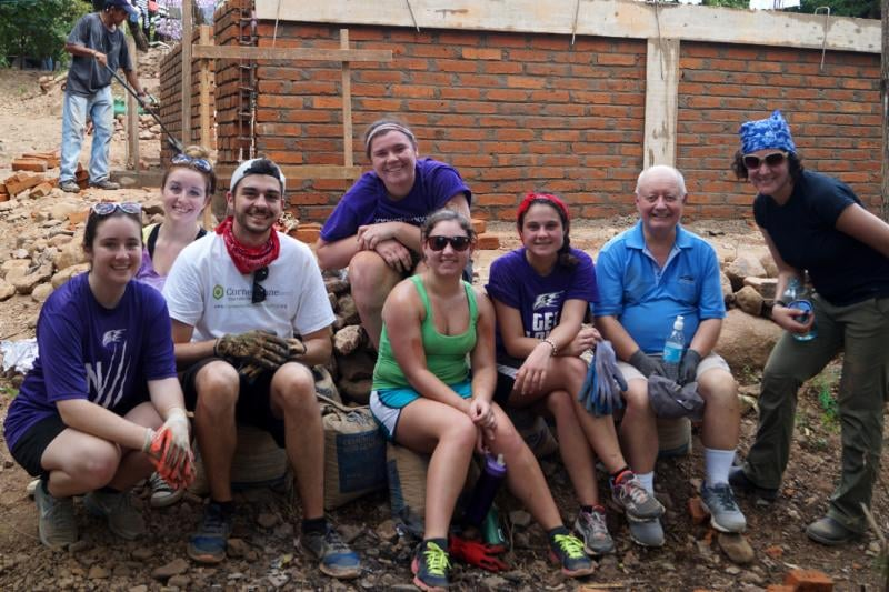 NU students, from left, Rachel Bailey, Amy Wnuk, Jake Eberth, Kelly Fitzpatrick, Briana Neale and Selena Cerra spent a week of their winter break building a home for a poor family in Nicaragua. They were accompanied by the Rev. Vincent O'Malley, C.M., and Dr. Abigail Levin.