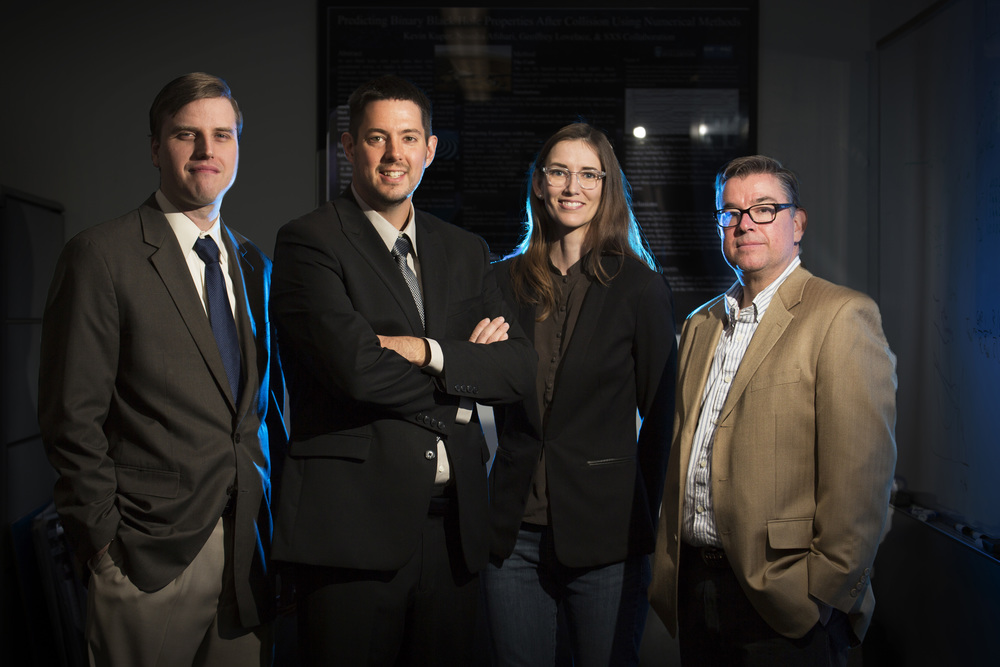 Cal State Fullerton researchers are among scientists worldwide who have confirmed a major prediction of Albert Einstein's general theory of relativity. L-R: Geoffrey Lovelace, Joshua Smith, Jocelyn Read and Alfonso Agnew.