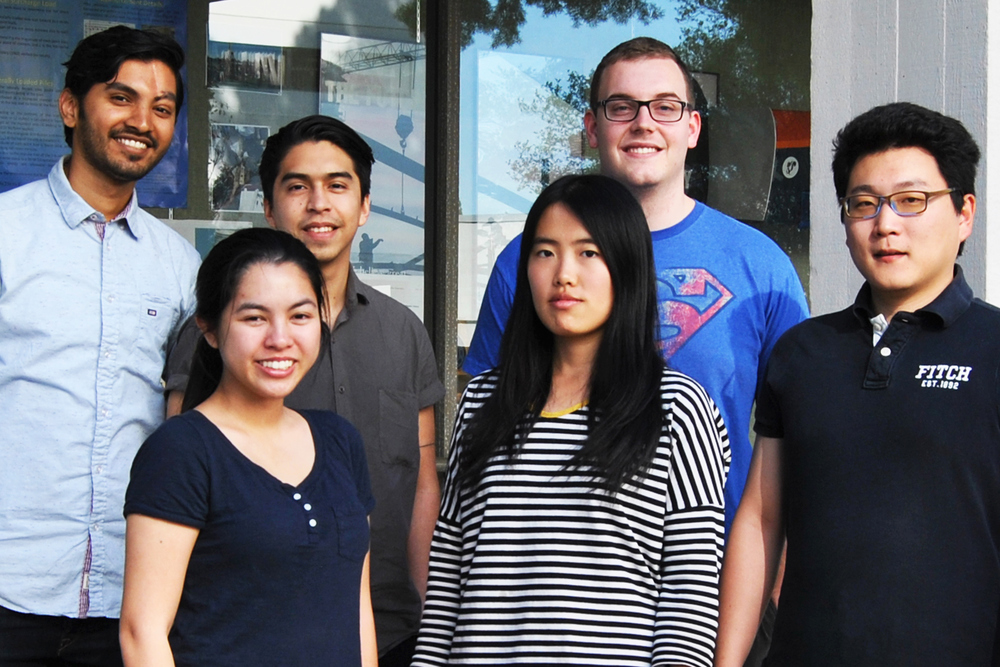 CSUF computer science students competing in the GE/California State University Innovation Challenge are: Shelley Pham, from left front row, Yuting Zhang and Bowen Tian; and (l-r back row), Harpreet Saini, Luis Covarrubias and Joseph Porter.