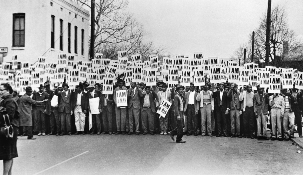 Ernest C. Withers, Sanitation Workers Assembling for a Solidarity March, Memphis, March 28, 1968, Gelatin silver print, 8 ½ x 14 ¾ in., National Museum of African American History and Culture, Smithsonian Institution, Museum Purchase.