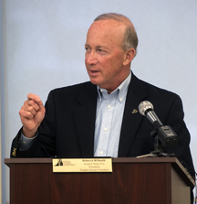Purdue President Mitch Daniels on Wednesday (April 20) announces during the Purdue Student Government meeting the university's plans to hold tuition flat on the West Lafayette campus for a fifth consecutive year. (Purdue University photo/Mark Simons)