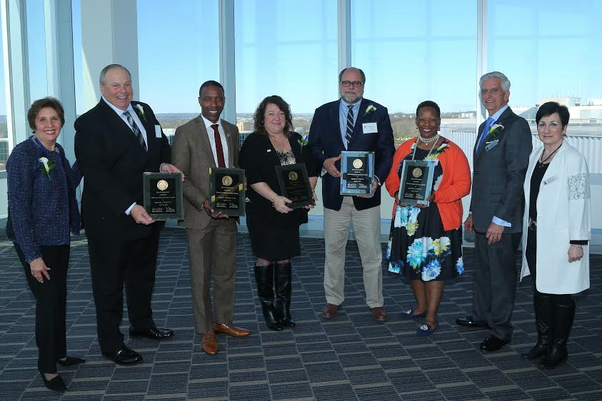 The Kean University Alumni Association 2016 Distinguished Alumni Award recipients were honored on Sunday, April 10, 2016 at the University's STEM Building. Pictured from left to right are: Maria Bordas, '74 '80 M.A., Kean University Foundation Board of Directors; Michael J. Cleary '73, retired chief of the East Orange Police Department; Jamel C. Holley '06, MPA, New Jersey Assemblyman; Joan Marie Granato '88, President of Future Focus Inc.; Dr. Dennis M. Todd '70, president and chief executive of Bergen Community Regional Blood Center; Marjorie A. Perry '74 president and CEO of MZM Construction & Management., Ed Esposito, '69 '72 M.A., president, Kean University Alumni Association; Maria Luciano, '72 Kean University Alumni Board.