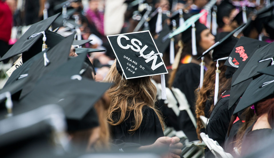 A scene from CSUN's 2015 commencement. Photo by Lee Choo.