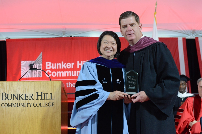 Mayor Walsh and President Pam Eddinger at the 2016 BHCC Commencement (PRNewsFoto/Bunker Hill Community College)