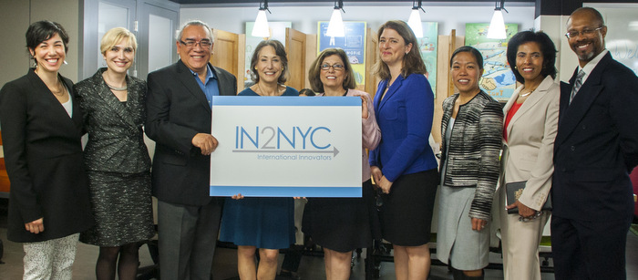 Officials at the launch of IN2YC, a CCNY-piloted program to bring foreign entrepreneurs to New York. From left: CCNY's Lindsay Siegel, Elena Sturman, Joe Barba; Ann Kirschner (CUNY), CCNY President Lisa S. Coico, Deputy Mayor Alicia Glen, NYCEDC President Maria Torres-Springer, Vice President Karen Witherspoon (CCNY) and Andy Holtz (CCNY).