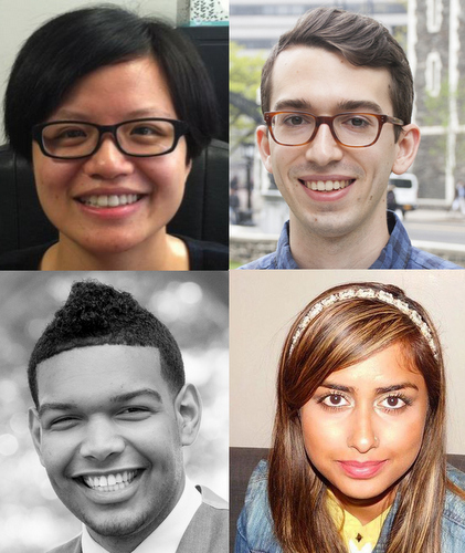 Some outstanding members of CCNY's Class of 2016 (clockwise): Fang Yuan, Tyler Joseph, Rokeya Begum and Luis Paulino Nova.