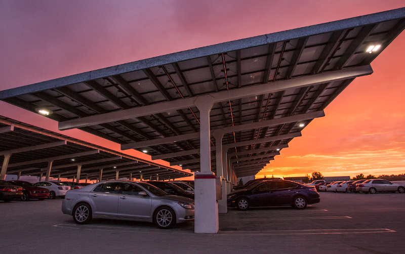 Cal State Fullerton's 1.16 megawatt solar power system with rooftop panels on the Eastside Parking Structure offsets more than 26 tons of greenhouse gas annually, the equivalent of taking 5,180 cars off the road for the next 25 years.