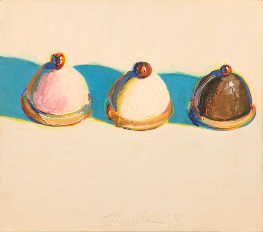 Three Treats, c. 1975-76, oil on panel (promised gift of Betty Jean and Wayne Thiebaud)/UC Davis photo by Gregory Urquiaga