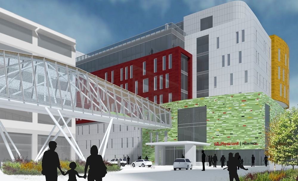 Rendering of proposed new UofL pediatric office building