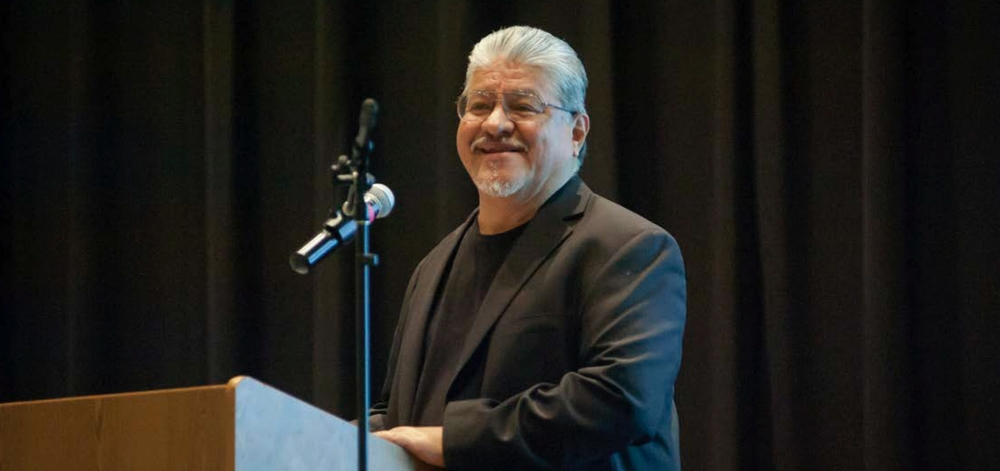 Luis J. Rodriguez speaks to CSUN students, faculty and staff at a May 2015 event honoring his appointment as Los Angeles Poet Laureate. PHOTO BY DAVID J. HAWKINS