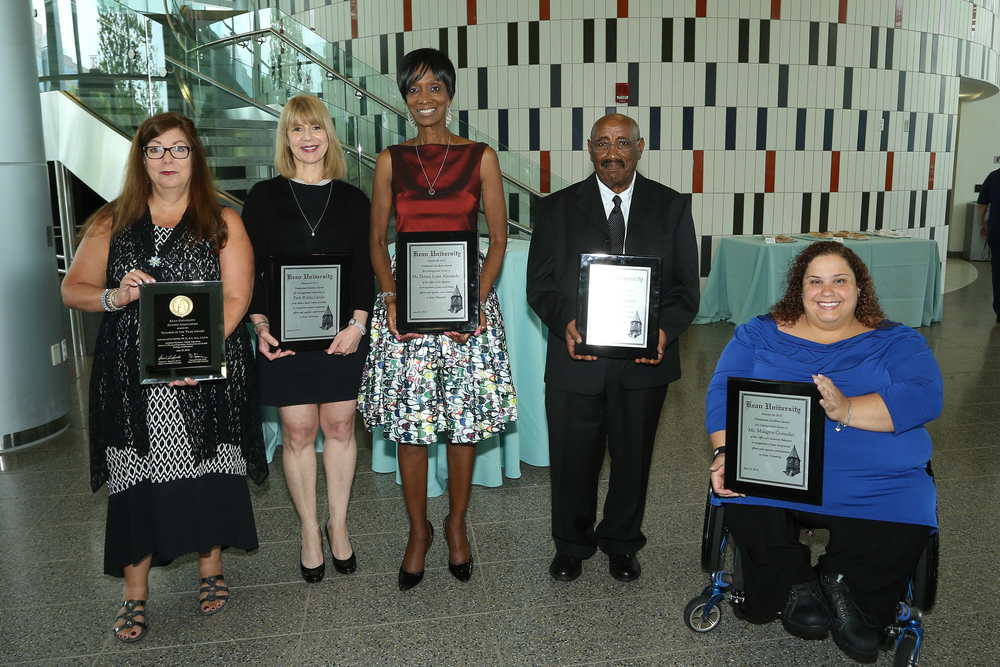 The Kean University 2016 Presidential Excellence Awards were bestowed on five dedicated University employees on June 23. Award recipients, pictured, L-R: Dr. Norma Bowe, Alumni Association Teacher of the Year;  Professor Robin Landa, Distinguished Scholarship for Faculty; Donna Lowe Alexander, Distinguished Service for Clerical Staff; Dr. Wolde Woubneh, Distinguished Service for Faculty; Millie Gonzalez, Distinguished Service for Professional Staff. Not pictured: Dr. Marguerite Mayhall of Green Brook, Distinguished Teaching for Faculty.