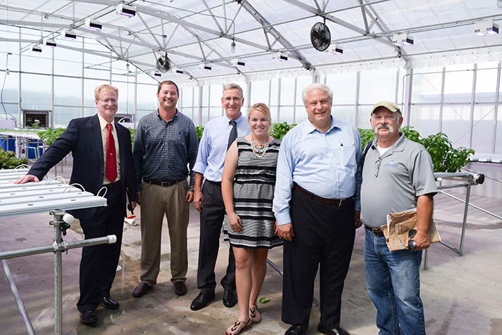 Credit: Delaware Valley University. From Left: Delaware Valley University Interim Dean of Agriculture and Environmental Sciences Dr. Chris Tipping, DelVal Hydroponics Greenhouse Manager Chris Filling '15, Pennsylvania Secretary of Agriculture Russell Redding, Hope of the Harvest Communications Coordinator and DelVal media and communications student Kay Woronik '18, Philadelphia City Councilman Al Taubenberger and Pennsylvania Department of Agriculture Special Assistant for Workforce Development Scott Sheely.
