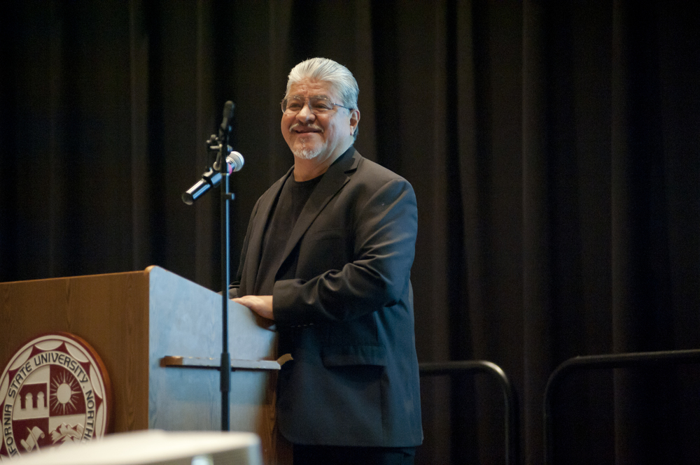 Luis J. Rodriguez speaks to CSUN students, faculty and staff at a May 2015 event honoring his appointment as Los Angeles Poet Laureate.