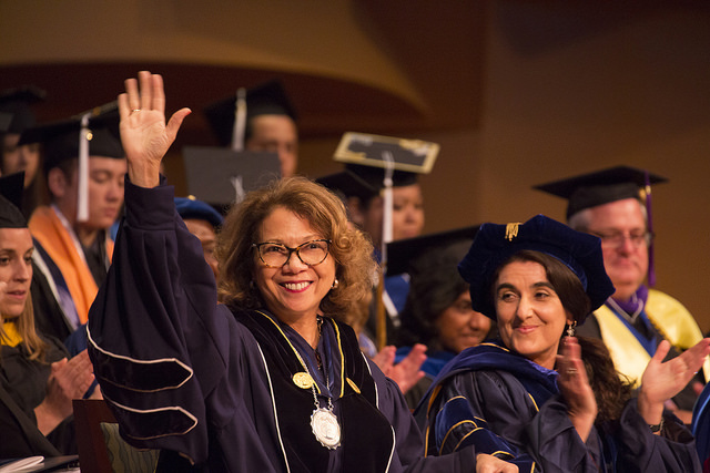 Cal State Fullerton President Mildred García salutes Class of '16 honors graduates.
