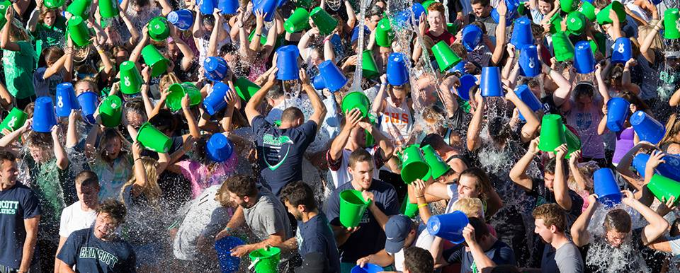 The Peter Frates Hall Dedication on 9/13 brought together approximately 1,500 students for the largest ALS Ice Bucket Challenge to date.  Photo Courtesy of Endicott College's Facebook Page.