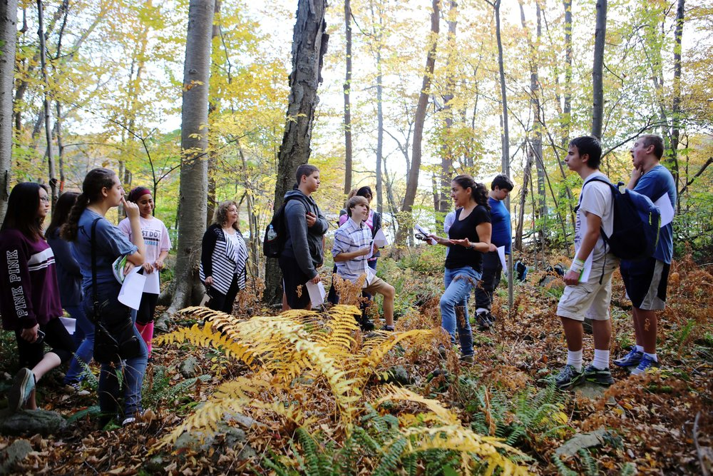 Kean University professor Daniela Shebitz, Ph.D., with Morris County Vocational School District Environmental Academy students at the Kean Highlands campus