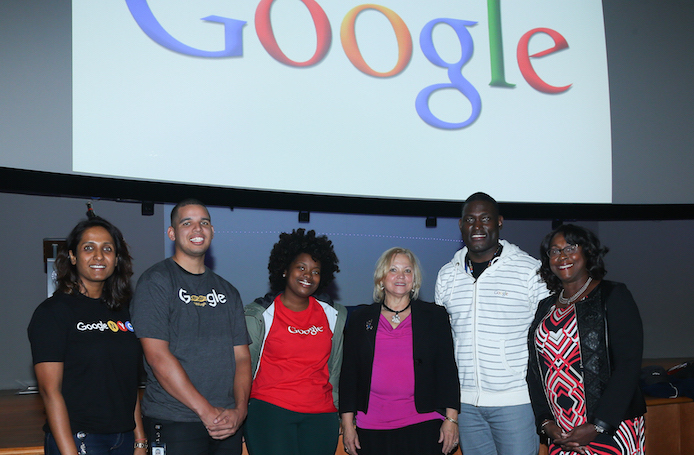 Rima Pitte, Willie Maddox, Alyssa Peters, Elis Sosa, Andrew Walker and Yvonne Segars (from left to right) addressed an audience of college students from disadvantaged backgrounds at Kean University's Google on Campus event.