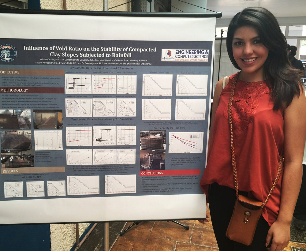 Durin her recent study trip to Brazil, civil engineering major Yuliana Carrillo presented her research project, which focuses on the impacts of rainfall in triggering landslides in Southern California.
